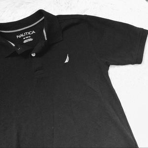 NAUTICA • Black + White Polo Shirt Top • M 10/12